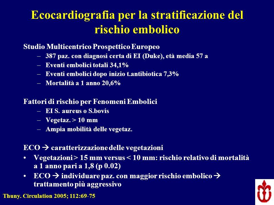 Ecocardiografia per la stratificazione del rischio embolico Studio Multicentrico Prospettico Europeo –387 paz. con diagnosi certa di EI (Duke), età me