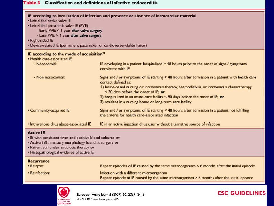 *High-risk echocardiographic features: vegetazione di grandi dimensioni e/o mobile, insufficienza valvolare, sospetto di estensione perivalvolare, o disfunzione ventricolare secondaria.