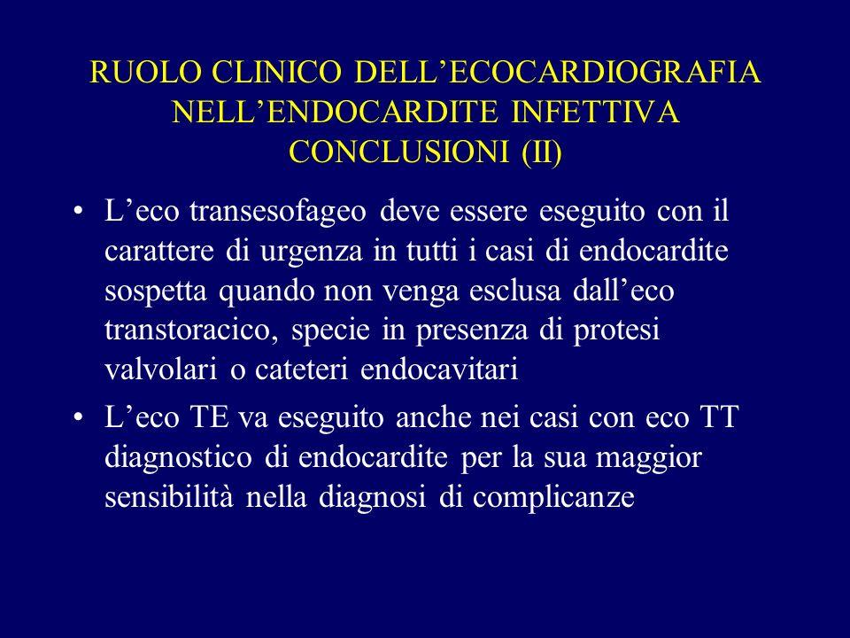 RUOLO CLINICO DELLECOCARDIOGRAFIA NELLENDOCARDITE INFETTIVA CONCLUSIONI (II) Leco transesofageo deve essere eseguito con il carattere di urgenza in tu