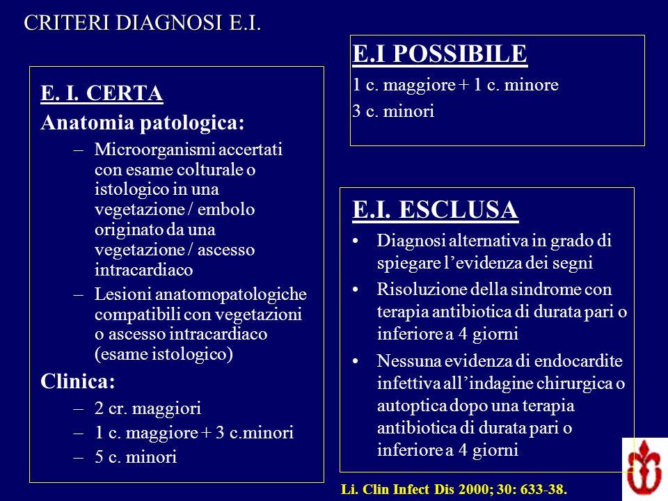 E. I. CERTA Anatomia patologica: –Microorganismi accertati con esame colturale o istologico in una vegetazione / embolo originato da una vegetazione /