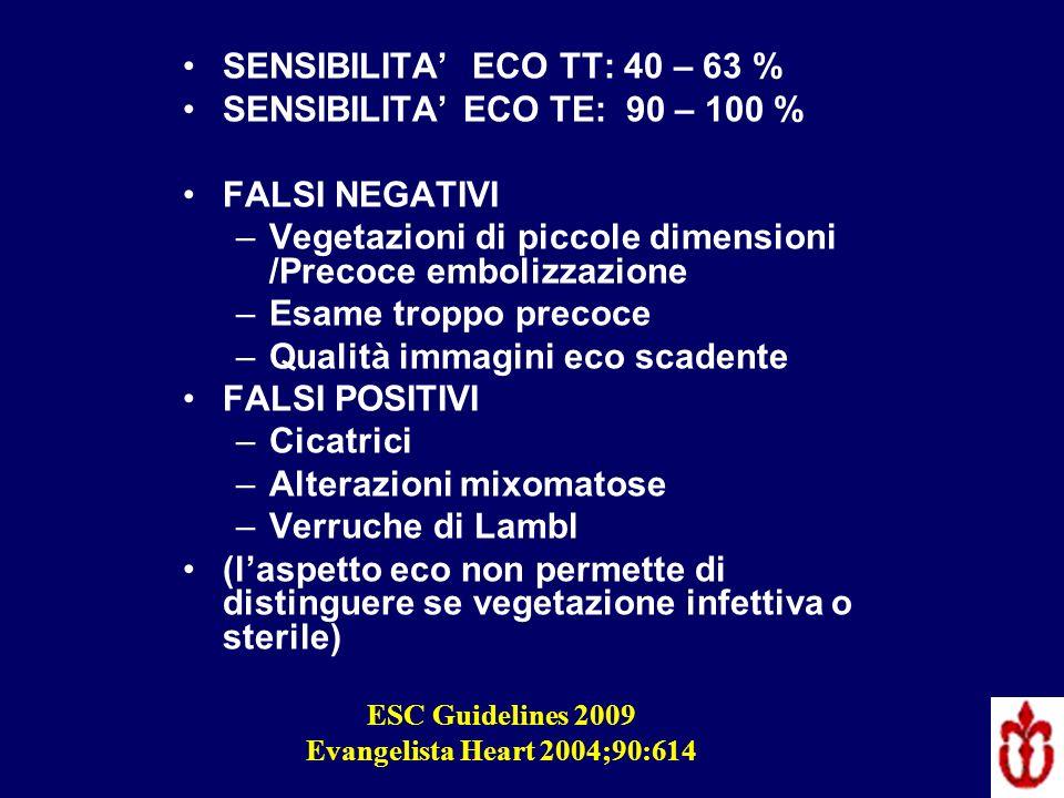SENSIBILITA ECO TT: 40 – 63 % SENSIBILITA ECO TE: 90 – 100 % FALSI NEGATIVI –Vegetazioni di piccole dimensioni /Precoce embolizzazione –Esame troppo p