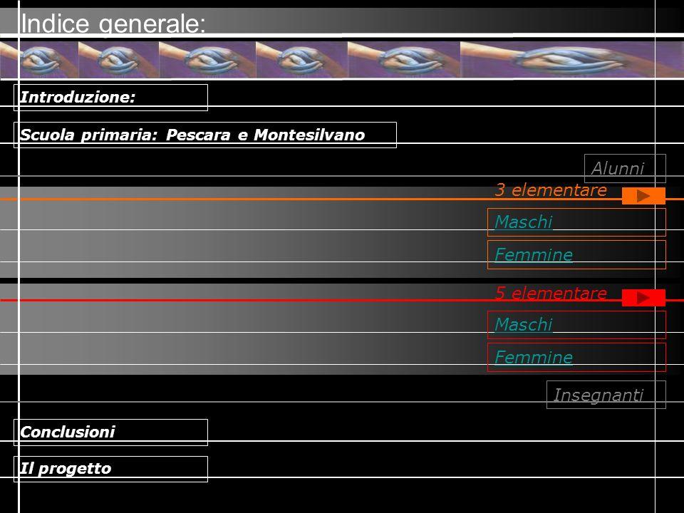 Maschi Indice generale: Femmine Maschi Femmine Scuola primaria: Pescara e Montesilvano Introduzione: Conclusioni Il progetto Alunni 5 elementare Inseg