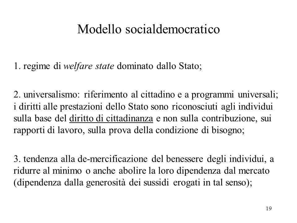 19 Modello socialdemocratico 1.regime di welfare state dominato dallo Stato; 2.