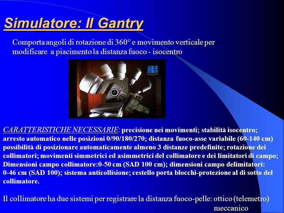 Simulatore: Il Gantry Comporta angoli di rotazione di 360° e movimento verticale per modificare a piacimento la distanza fuoco - isocentro CARATTERIST