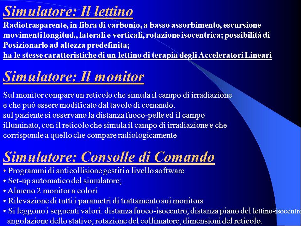 Simulatore: Il monitor Sul monitor compare un reticolo che simula il campo di irradiazione e che può essere modificato dal tavolo di comando. sul pazi