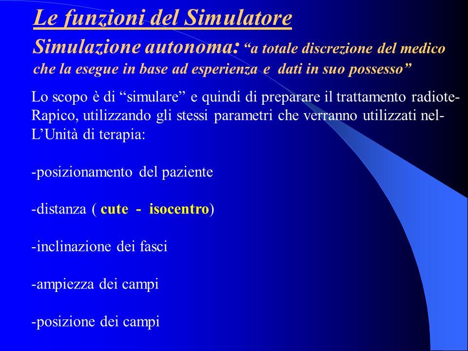 Le funzioni del Simulatore Le tappe fondamentali che portano al disegno del campo di irradiazione in Sede di simulazione sono le seguenti: Decisione della tecnica da utilizzare, energia ed Unità di terapia (es.