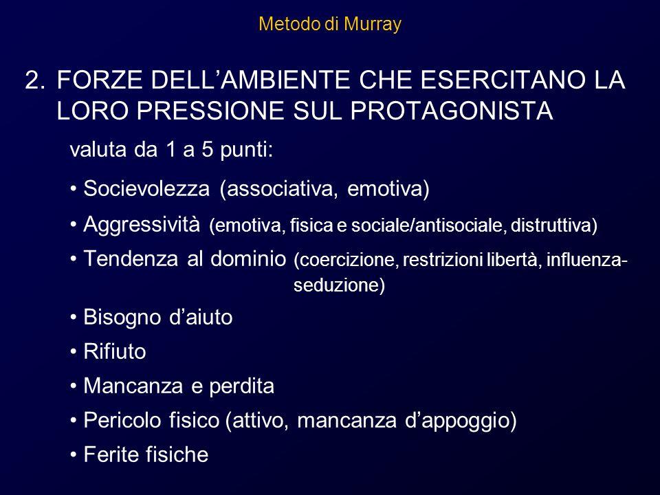 Metodo di Murray 2.FORZE DELLAMBIENTE CHE ESERCITANO LA LORO PRESSIONE SUL PROTAGONISTA valuta da 1 a 5 punti: Socievolezza (associativa, emotiva) Agg