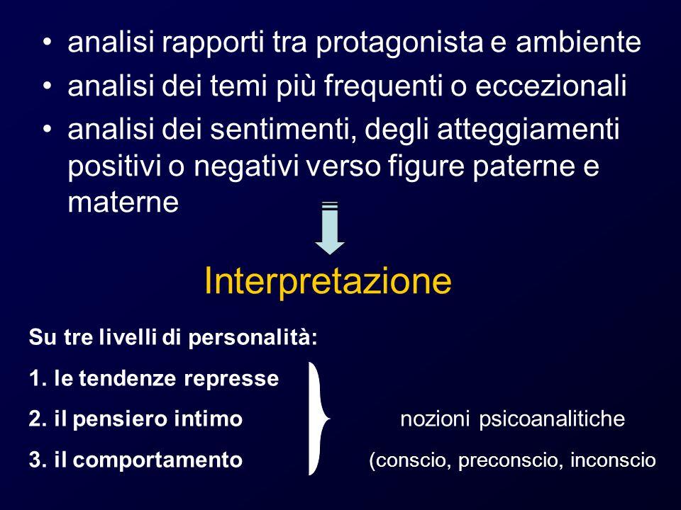 Interpretazione analisi rapporti tra protagonista e ambiente analisi dei temi più frequenti o eccezionali analisi dei sentimenti, degli atteggiamenti
