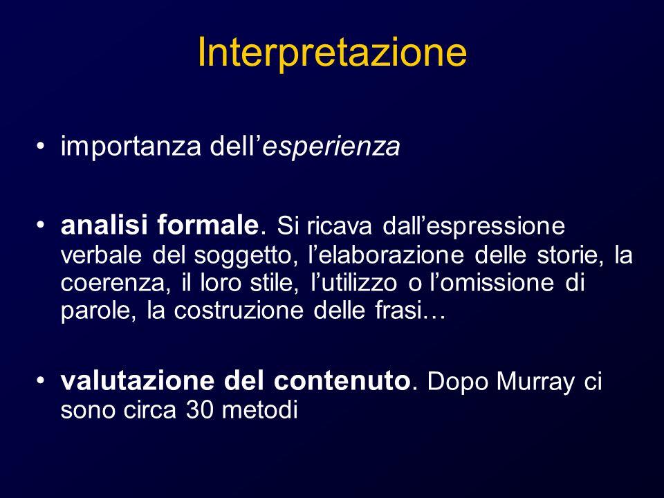Interpretazione importanza dellesperienza analisi formale. Si ricava dallespressione verbale del soggetto, lelaborazione delle storie, la coerenza, il
