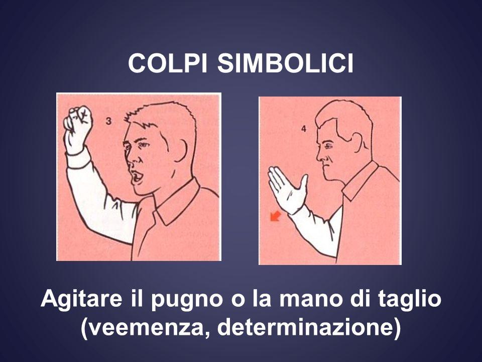 COLPI SIMBOLICI Agitare il pugno o la mano di taglio (veemenza, determinazione)