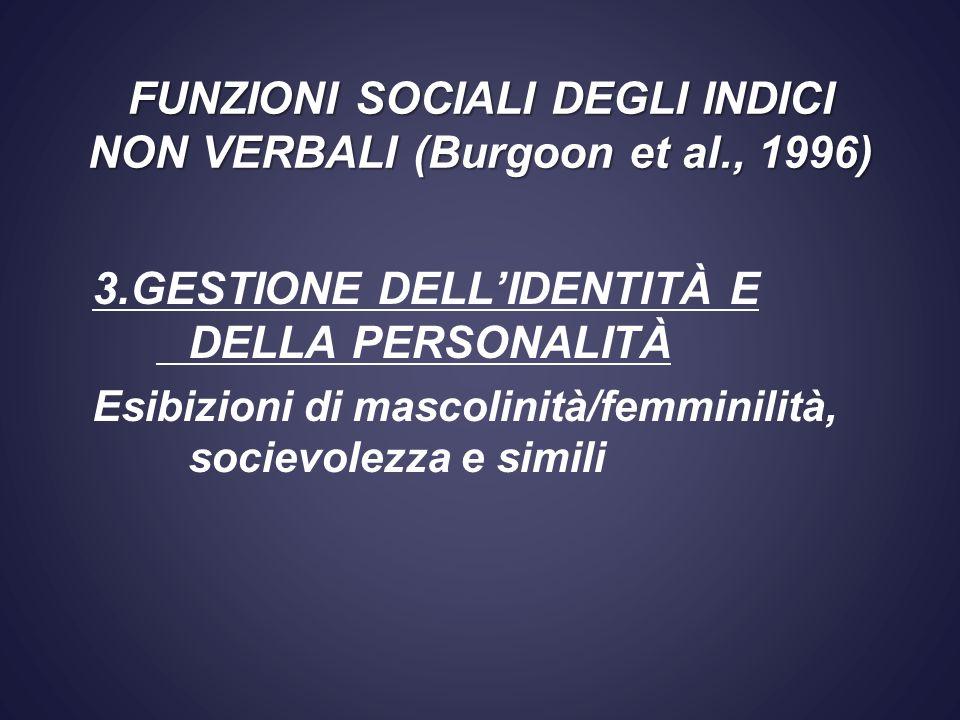3.GESTIONE DELLIDENTITÀ E DELLA PERSONALITÀ Esibizioni di mascolinità/femminilità, socievolezza e simili FUNZIONI SOCIALI DEGLI INDICI NON VERBALI (Bu