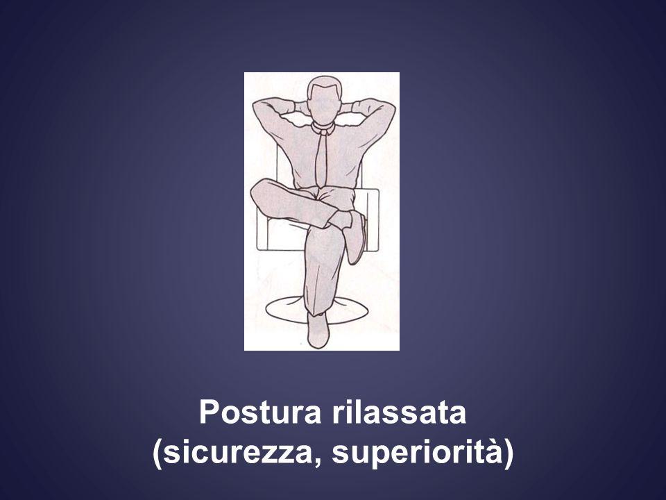 Postura rilassata (sicurezza, superiorità)