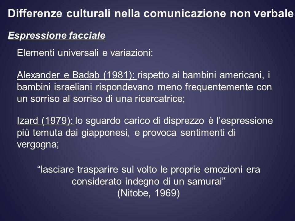Differenze culturali nella comunicazione non verbale Espressione facciale Elementi universali e variazioni: Alexander e Badab (1981): rispetto ai bamb