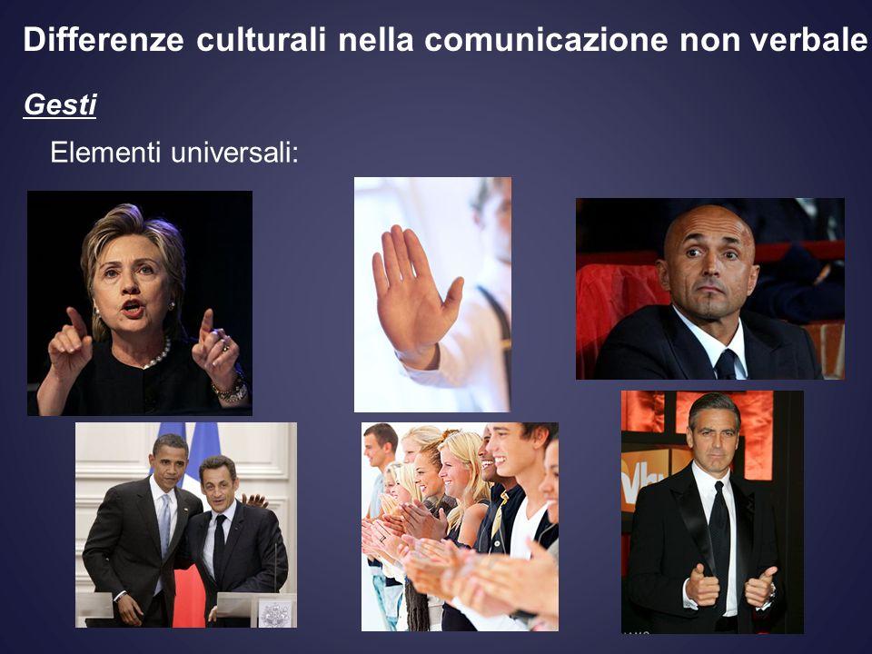 Gesti Elementi universali: Differenze culturali nella comunicazione non verbale