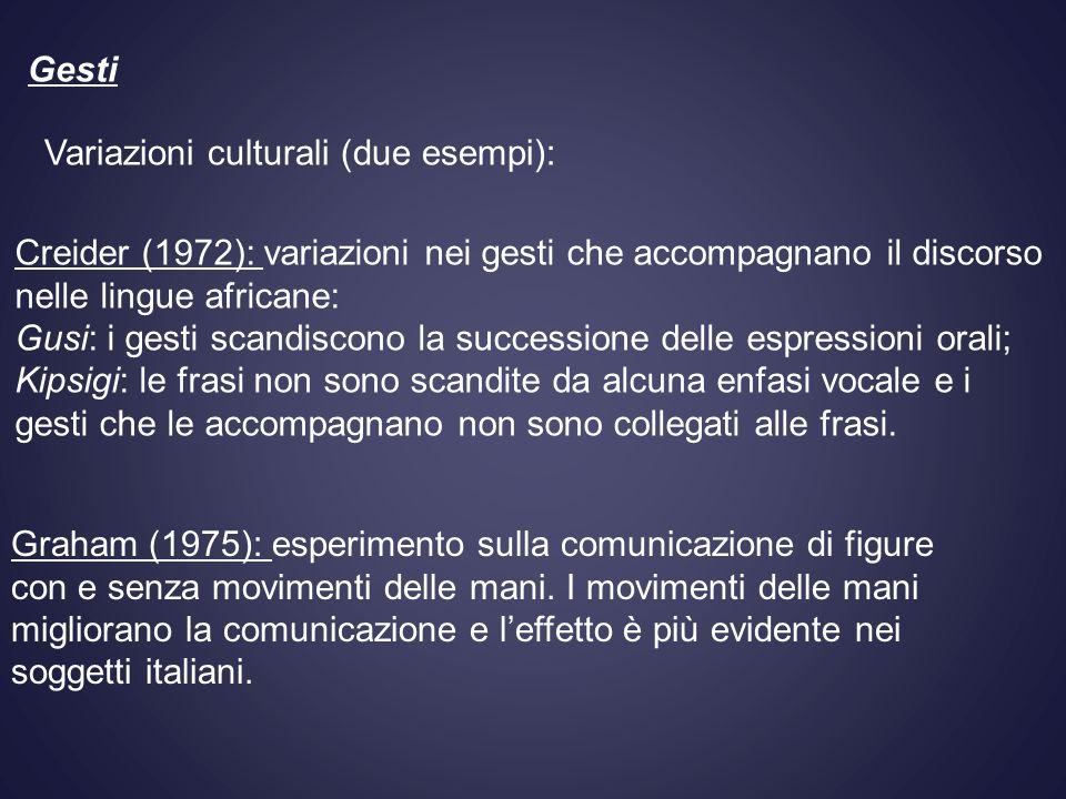 Creider (1972): variazioni nei gesti che accompagnano il discorso nelle lingue africane: Gusi: i gesti scandiscono la successione delle espressioni or