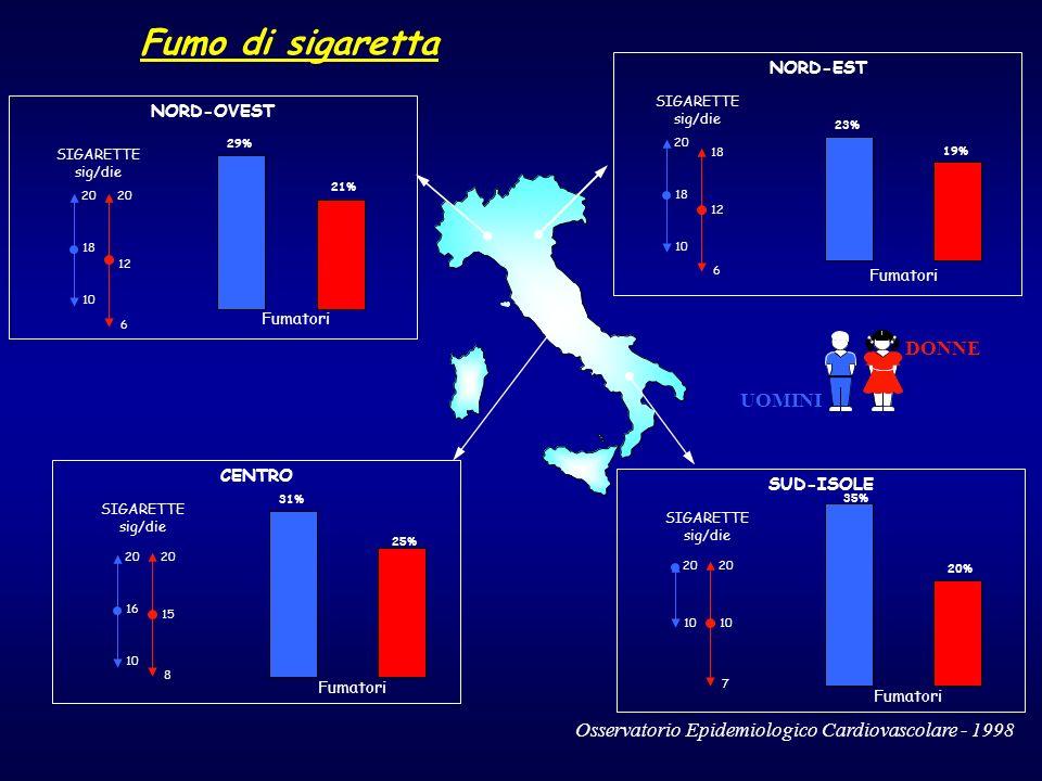 DONNE UOMINI Fumo di sigaretta SUD-ISOLE SIGARETTE sig/die NORD-OVEST 20 10 18 20 6 12 SIGARETTE sig/die NORD-EST SIGARETTE sig/die Fumatori 23% 19% F