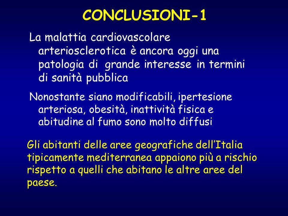 CONCLUSIONI-1 La malattia cardiovascolare arteriosclerotica è ancora oggi una patologia di grande interesse in termini di sanità pubblica Nonostante s