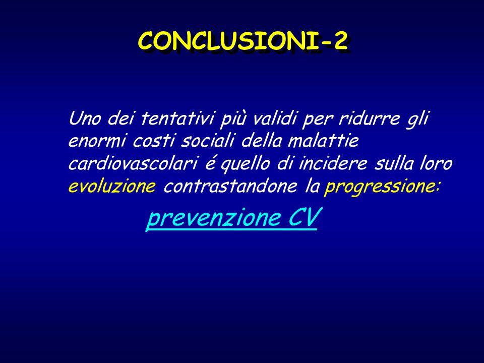 CONCLUSIONI-2 Uno dei tentativi più validi per ridurre gli enormi costi sociali della malattie cardiovascolari é quello di incidere sulla loro evoluzi