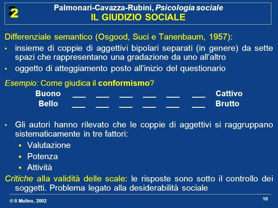 © Il Mulino, 2002 Palmonari-Cavazza-Rubini, Psicologia sociale IL GIUDIZIO SOCIALE 2 2 10 Differenziale semantico (Osgood, Suci e Tanenbaum, 1957): in