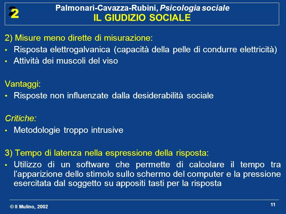 © Il Mulino, 2002 Palmonari-Cavazza-Rubini, Psicologia sociale IL GIUDIZIO SOCIALE 2 2 11 2) Misure meno dirette di misurazione: Risposta elettrogalva