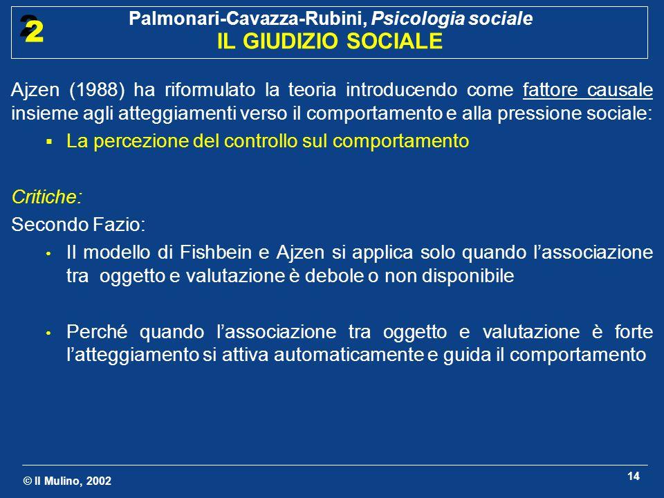 © Il Mulino, 2002 Palmonari-Cavazza-Rubini, Psicologia sociale IL GIUDIZIO SOCIALE 2 2 14 Ajzen (1988) ha riformulato la teoria introducendo come fatt