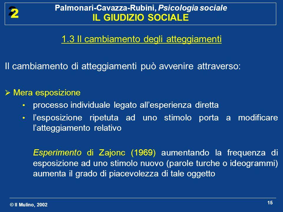 © Il Mulino, 2002 Palmonari-Cavazza-Rubini, Psicologia sociale IL GIUDIZIO SOCIALE 2 2 15 1.3 Il cambiamento degli atteggiamenti Il cambiamento di att