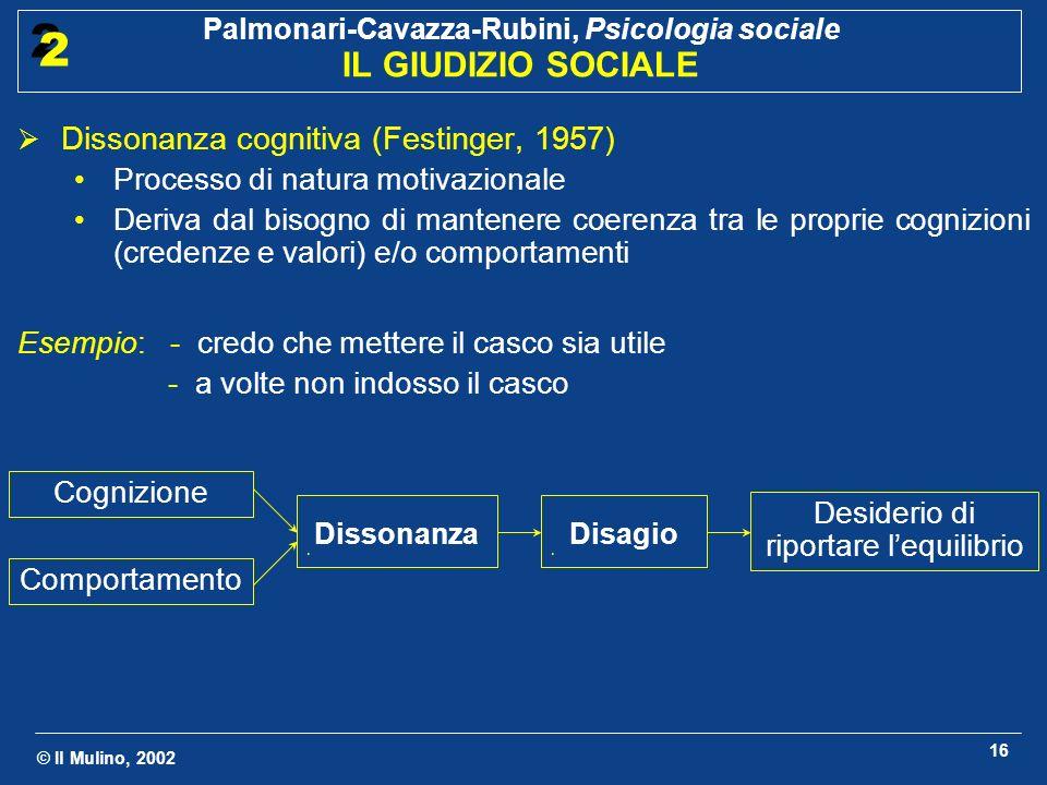 © Il Mulino, 2002 Palmonari-Cavazza-Rubini, Psicologia sociale IL GIUDIZIO SOCIALE 2 2 16 Dissonanza cognitiva (Festinger, 1957) Processo di natura mo