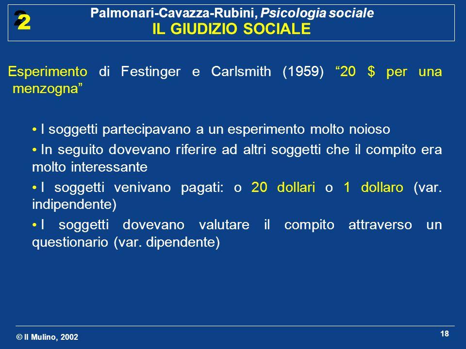 © Il Mulino, 2002 Palmonari-Cavazza-Rubini, Psicologia sociale IL GIUDIZIO SOCIALE 2 2 18 Esperimento di Festinger e Carlsmith (1959) 20 $ per una men