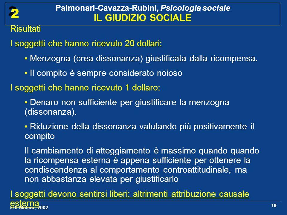 © Il Mulino, 2002 Palmonari-Cavazza-Rubini, Psicologia sociale IL GIUDIZIO SOCIALE 2 2 19 Risultati I soggetti che hanno ricevuto 20 dollari: Menzogna
