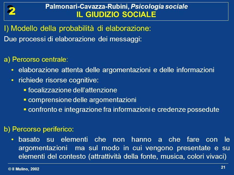 © Il Mulino, 2002 Palmonari-Cavazza-Rubini, Psicologia sociale IL GIUDIZIO SOCIALE 2 2 21 I) Modello della probabilità di elaborazione: Due processi d
