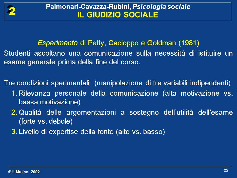 © Il Mulino, 2002 Palmonari-Cavazza-Rubini, Psicologia sociale IL GIUDIZIO SOCIALE 2 2 22 Esperimento di Petty, Cacioppo e Goldman (1981) Studenti asc