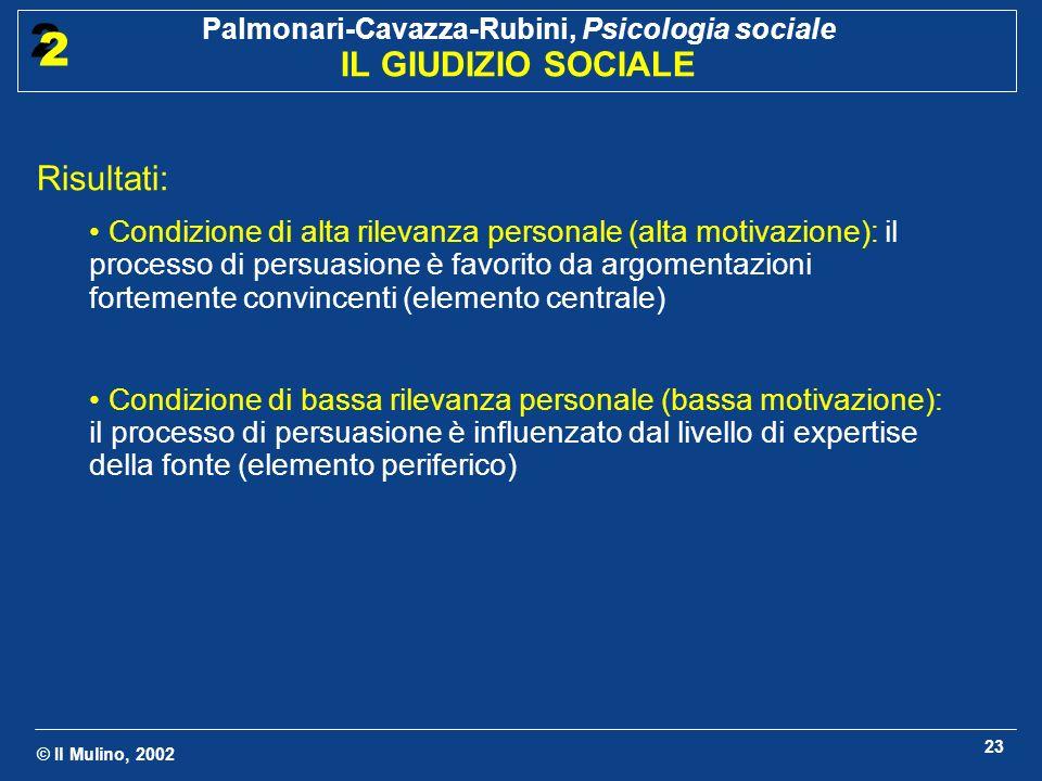 © Il Mulino, 2002 Palmonari-Cavazza-Rubini, Psicologia sociale IL GIUDIZIO SOCIALE 2 2 23 Risultati: Condizione di alta rilevanza personale (alta moti