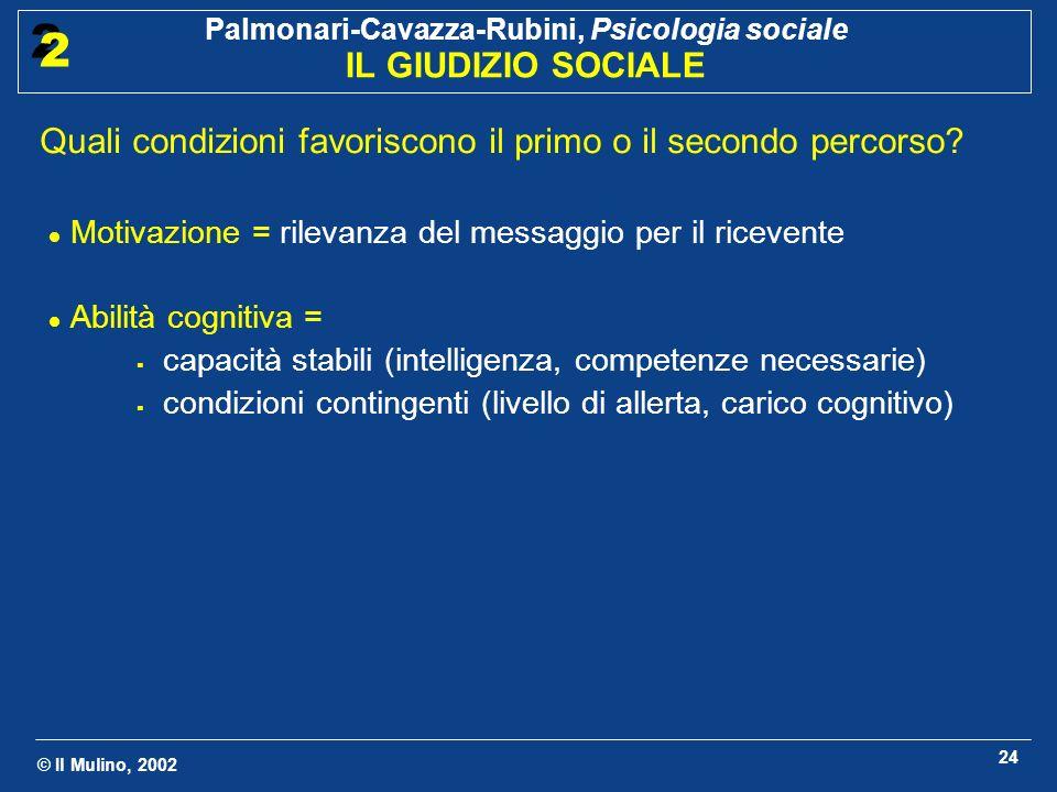 © Il Mulino, 2002 Palmonari-Cavazza-Rubini, Psicologia sociale IL GIUDIZIO SOCIALE 2 2 24 Quali condizioni favoriscono il primo o il secondo percorso?