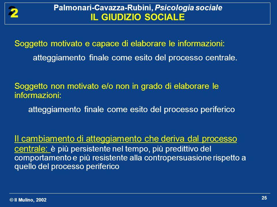 © Il Mulino, 2002 Palmonari-Cavazza-Rubini, Psicologia sociale IL GIUDIZIO SOCIALE 2 2 25 Soggetto motivato e capace di elaborare le informazioni: att