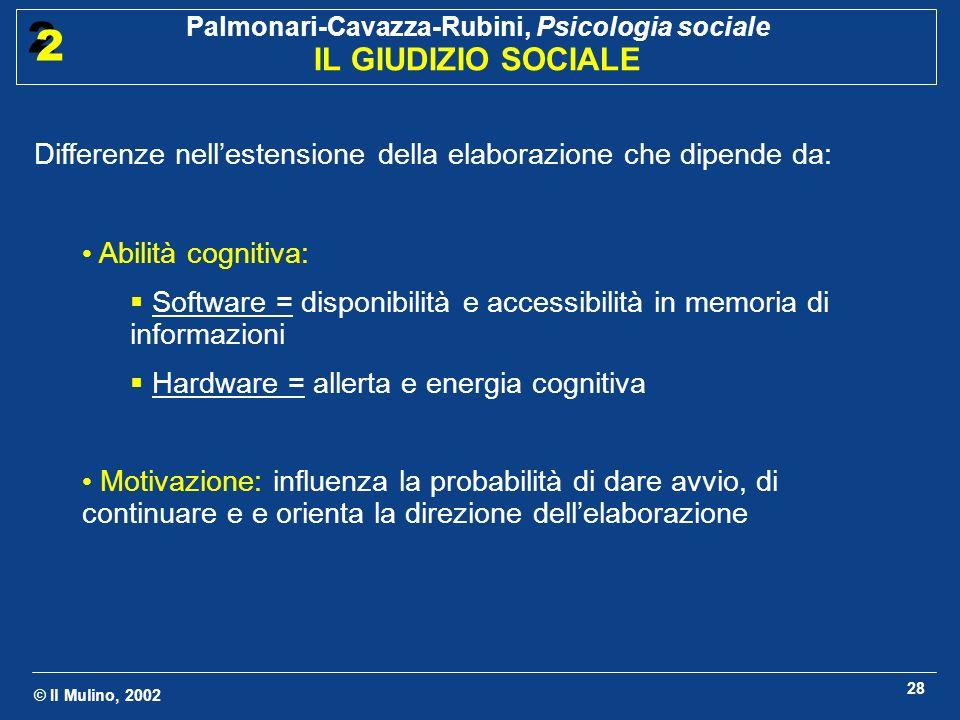 © Il Mulino, 2002 Palmonari-Cavazza-Rubini, Psicologia sociale IL GIUDIZIO SOCIALE 2 2 28 Differenze nellestensione della elaborazione che dipende da: