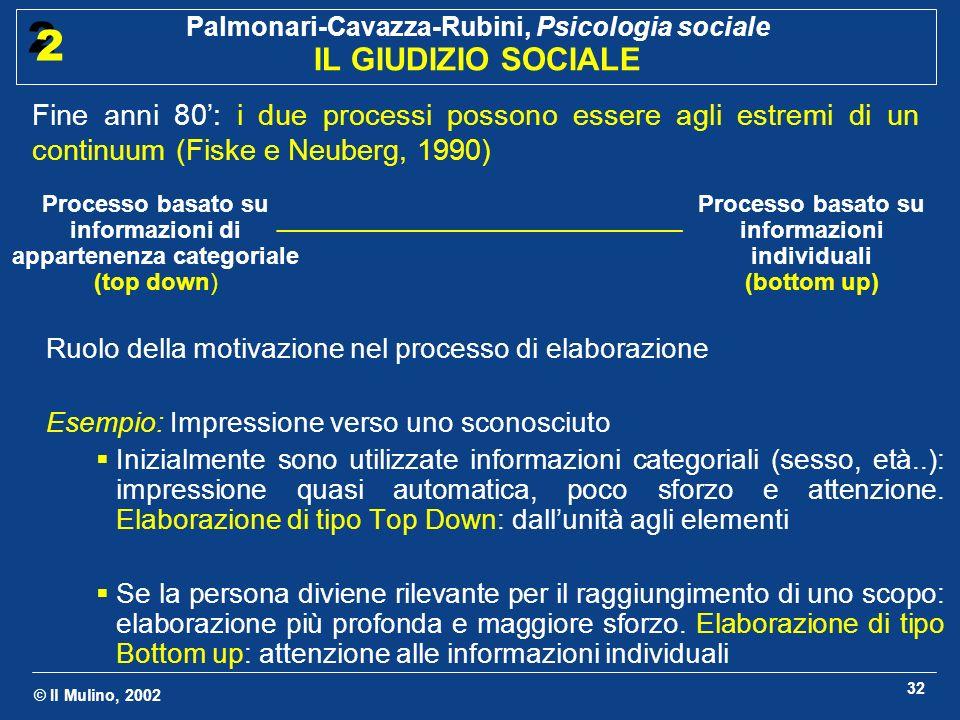© Il Mulino, 2002 Palmonari-Cavazza-Rubini, Psicologia sociale IL GIUDIZIO SOCIALE 2 2 32 Ruolo della motivazione nel processo di elaborazione Esempio