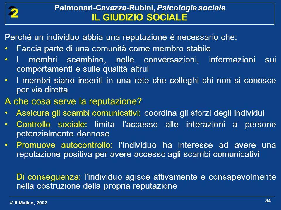 © Il Mulino, 2002 Palmonari-Cavazza-Rubini, Psicologia sociale IL GIUDIZIO SOCIALE 2 2 34 Perché un individuo abbia una reputazione è necessario che: