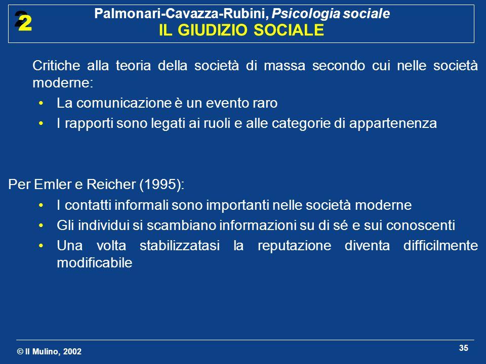 © Il Mulino, 2002 Palmonari-Cavazza-Rubini, Psicologia sociale IL GIUDIZIO SOCIALE 2 2 35 Critiche alla teoria della società di massa secondo cui nell