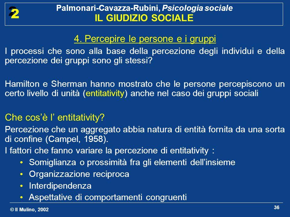 © Il Mulino, 2002 Palmonari-Cavazza-Rubini, Psicologia sociale IL GIUDIZIO SOCIALE 2 2 36 4. Percepire le persone e i gruppi I processi che sono alla