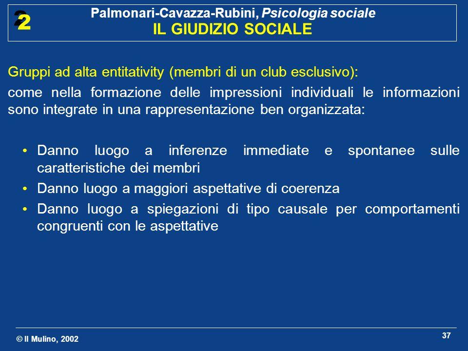 © Il Mulino, 2002 Palmonari-Cavazza-Rubini, Psicologia sociale IL GIUDIZIO SOCIALE 2 2 37 Gruppi ad alta entitativity (membri di un club esclusivo): c