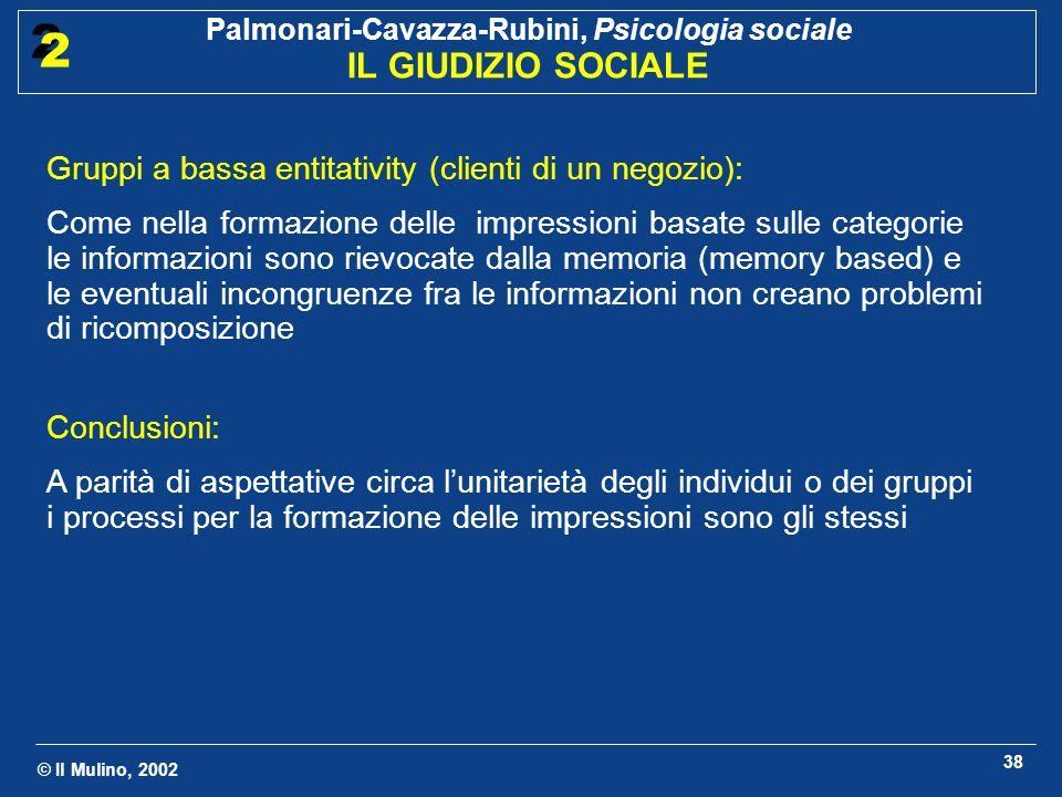 © Il Mulino, 2002 Palmonari-Cavazza-Rubini, Psicologia sociale IL GIUDIZIO SOCIALE 2 2 38 Gruppi a bassa entitativity (clienti di un negozio): Come ne