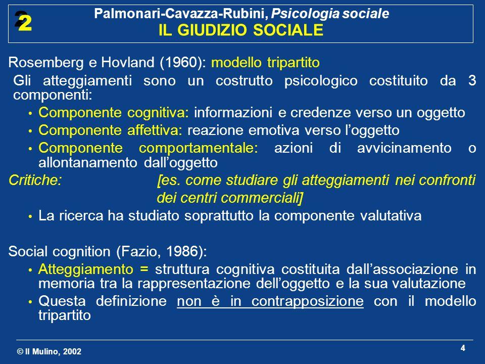 © Il Mulino, 2002 Palmonari-Cavazza-Rubini, Psicologia sociale IL GIUDIZIO SOCIALE 2 2 4 Rosemberg e Hovland (1960): modello tripartito Gli atteggiame