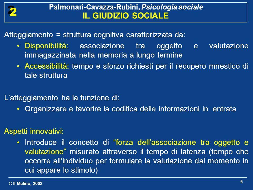 © Il Mulino, 2002 Palmonari-Cavazza-Rubini, Psicologia sociale IL GIUDIZIO SOCIALE 2 2 5 Atteggiamento = struttura cognitiva caratterizzata da: Dispon