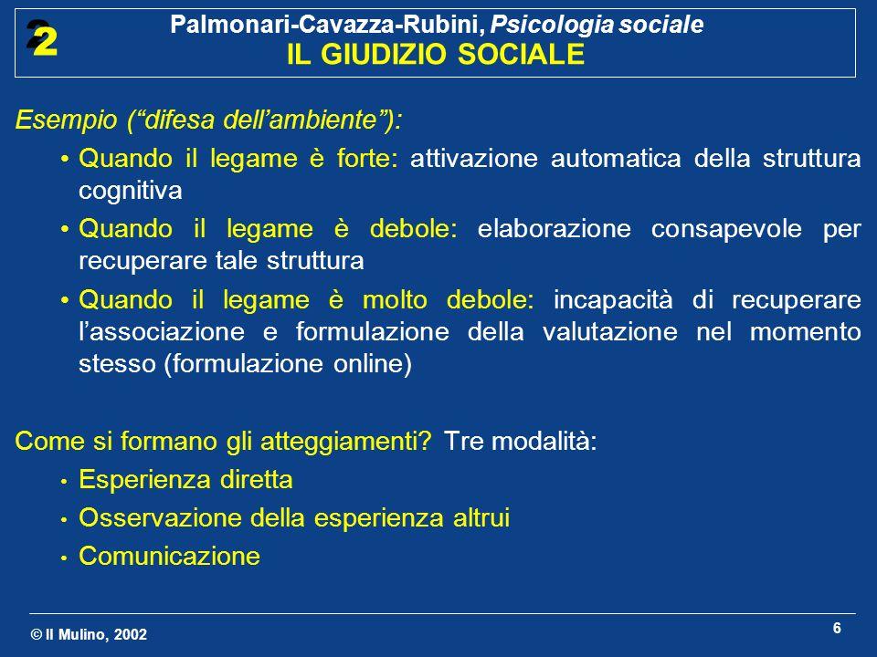 © Il Mulino, 2002 Palmonari-Cavazza-Rubini, Psicologia sociale IL GIUDIZIO SOCIALE 2 2 6 Esempio (difesa dellambiente): Quando il legame è forte: atti