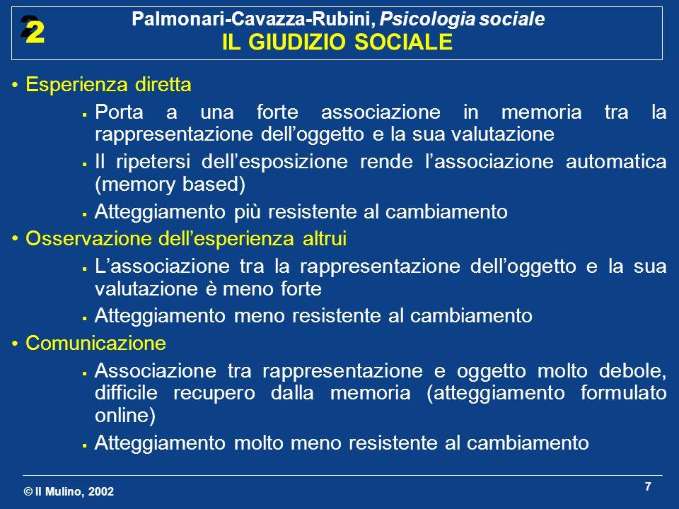© Il Mulino, 2002 Palmonari-Cavazza-Rubini, Psicologia sociale IL GIUDIZIO SOCIALE 2 2 7 Esperienza diretta Porta a una forte associazione in memoria