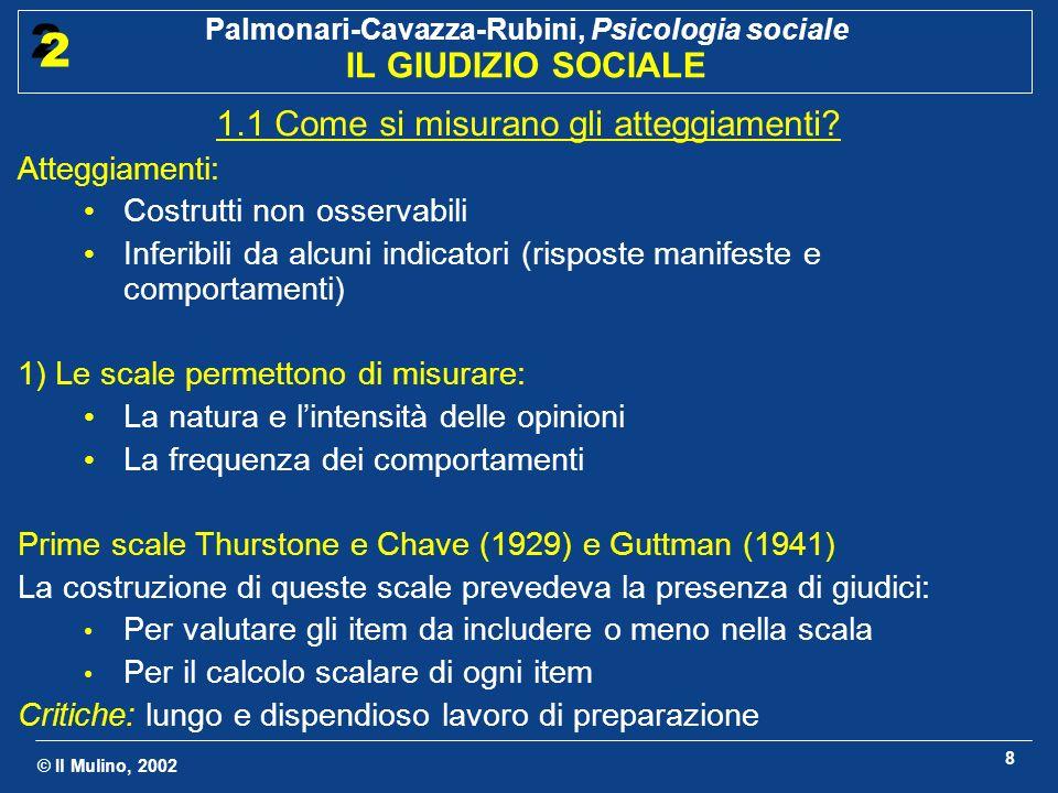 © Il Mulino, 2002 Palmonari-Cavazza-Rubini, Psicologia sociale IL GIUDIZIO SOCIALE 2 2 8 1.1 Come si misurano gli atteggiamenti? Atteggiamenti: Costru