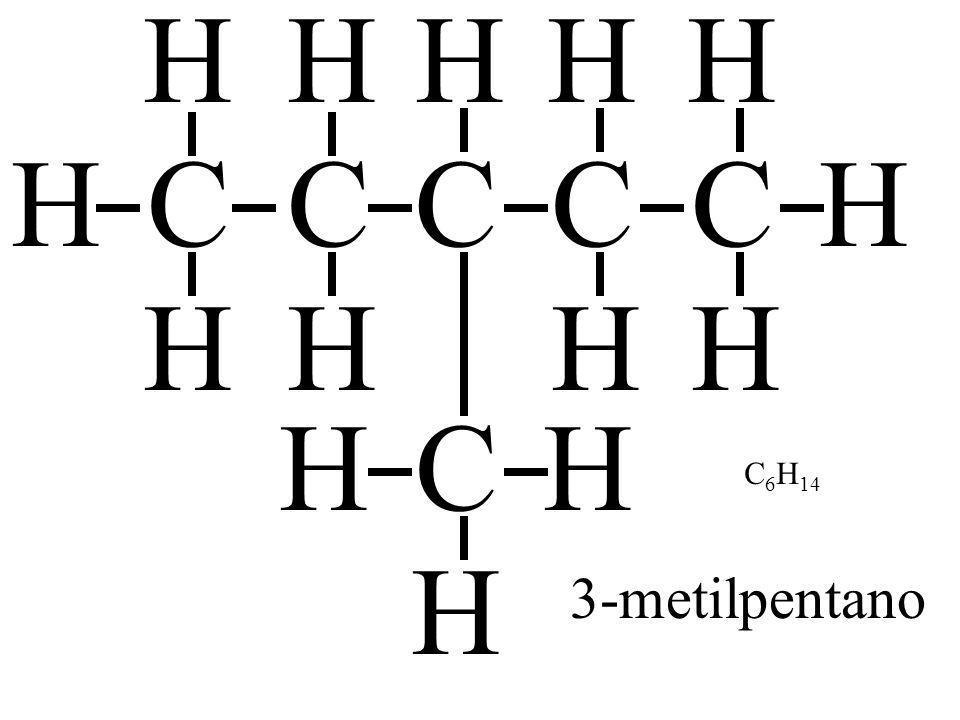 CH H H C H H C H H C H HC H H H C H H 3-metilpentano C 6 H 14
