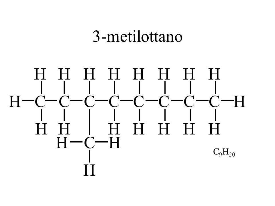 CH H H C H H C H HC H HC H H H C H H C H C H H C H H H 3-metilottano C 9 H 20