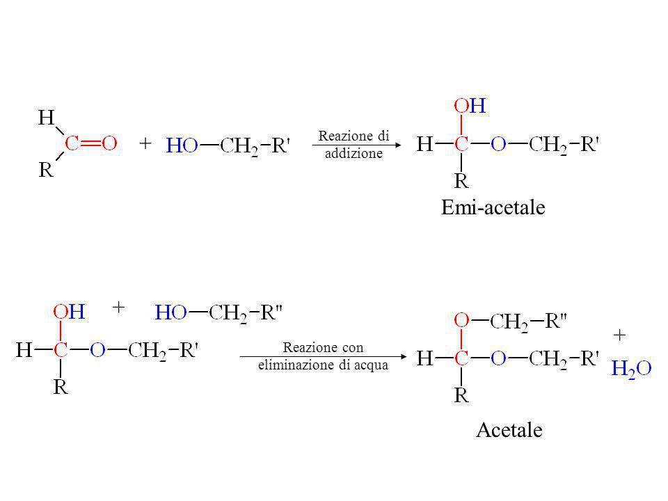 Acetale + + + Emi-acetale Reazione di addizione Reazione con eliminazione di acqua