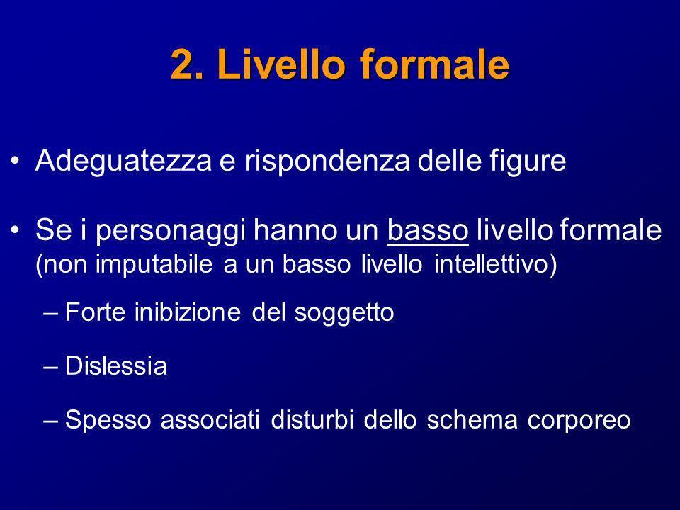 2. Livello formale Adeguatezza e rispondenza delle figure Se i personaggi hanno un basso livello formale (non imputabile a un basso livello intelletti
